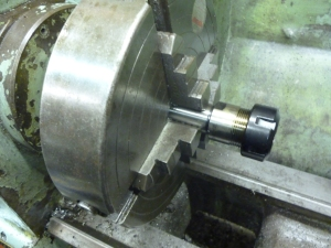 939 collet chuck in four jaw chuck