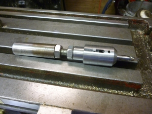 983 adjustable work stop with center drill