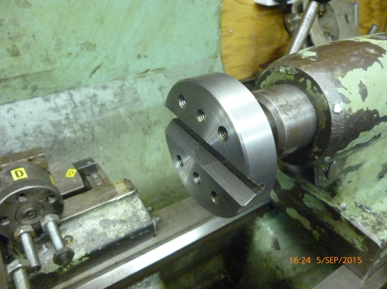 3154 cross drilling jig - finished jig fitted to tailstock